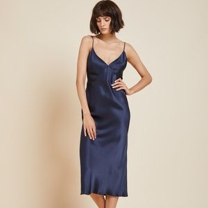 Banana Republic Navy Silk Slip Dress